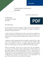 Award Winning Letter to Roger Federer