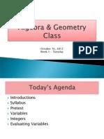 Algebra & Geometry Class Tues_ Wk 1