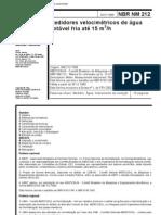 NBR 212 - Medidores Velocimetricos de Agua Fria Ate 15 m3 H
