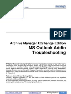 Outlook AddIn Troubleshooting | Microsoft Outlook | Windows