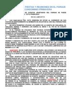 REGLAMENTO FIESTAS Y REUNIONES EN EL PARQUE 2012 ver 8 baños