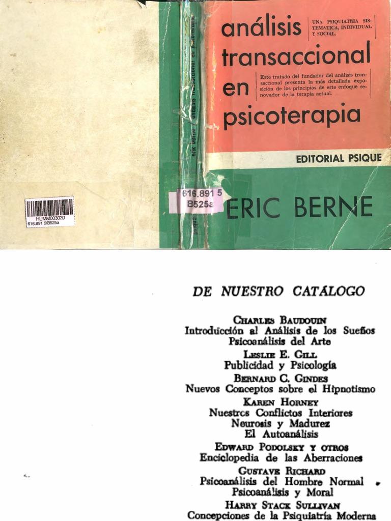 análisis transaccional en psicoterapia, eric berne