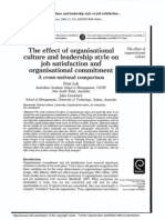 The Effect of Organisational Culture and Leadership Style on Job Satisfaction and Ornaisational Commitment (Peter Lok)