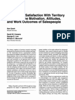 The Role of Satisfaction With Territory Design on the Motivation, Attitudes, and Work Outcomes of Salespeople Grant, Ken et al, 2001, Journal of The Academy of Marketing Sciences, Vol. 23, No. 2, p. 165 – 178
