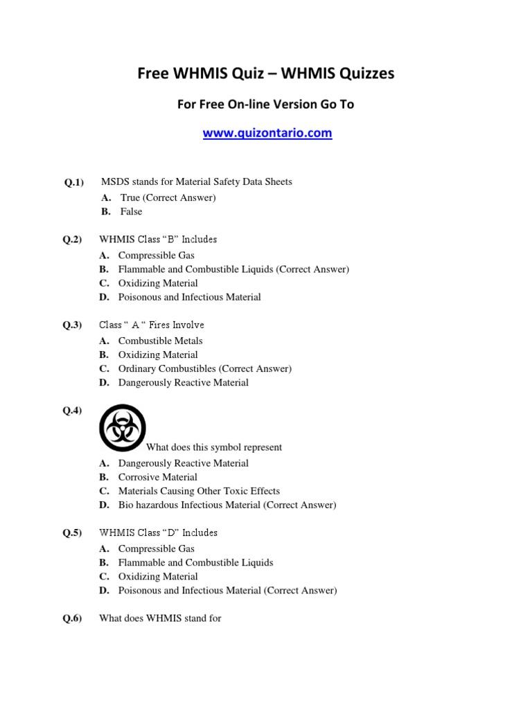 Free whmis quiz whmis quizzes buycottarizona