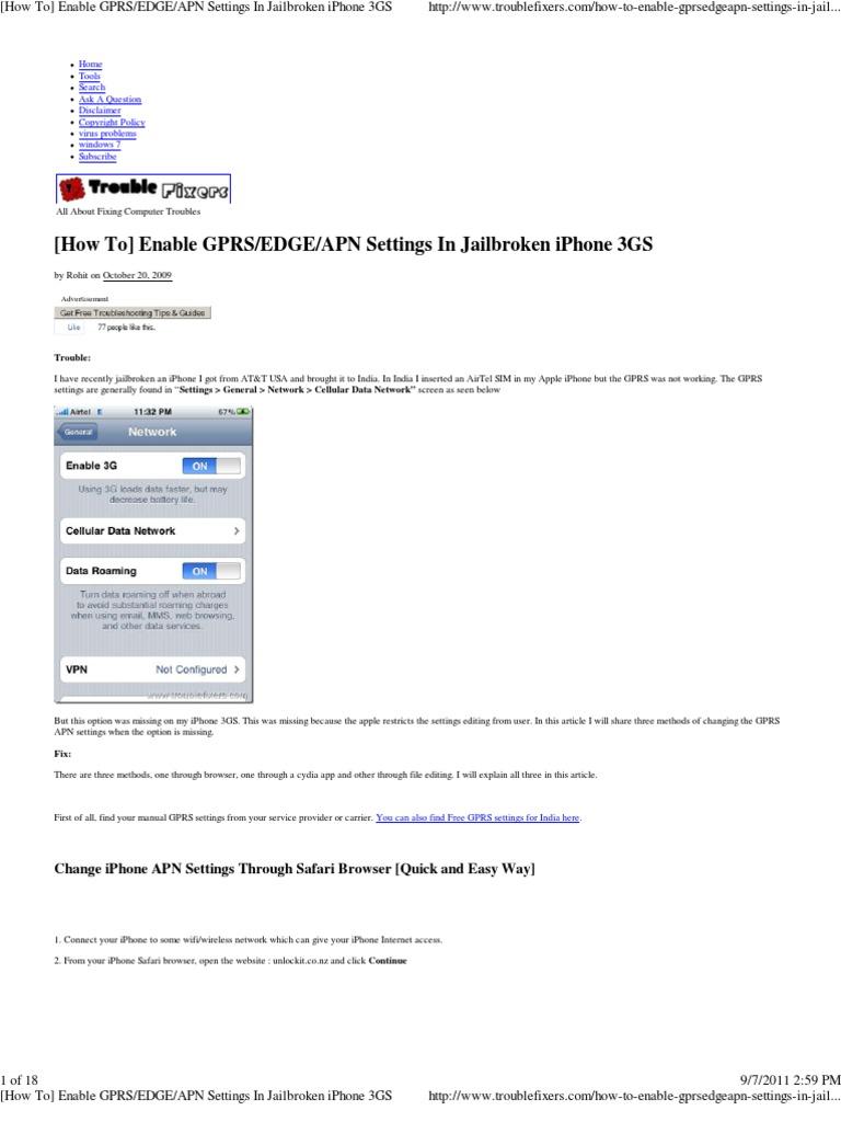 1 APN Settings in Jailbroken iPhone 3GS | I Phone