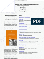 Mato, Daniel (comp.) - Estudios Latinoamericanos sobre cultura y transformaciones sociales en tiempos de globalización