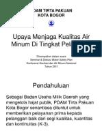 Upaya Menjaga Kualitas Air Minum Di Tingkat Pelanggan. PDAM Kota Bogor