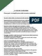 Le Misure Per La Crescita Sostenibile Semplificazione Della Normativa Ambientale Decarbonizzazione Dell'Economia Italiana e Sicurezza Dei Territori