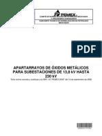 NRF-147-PEMEX-2012 Apartarrayos de óxidos metálicos para subestaciones de 13.8 kV hasta 230 kV