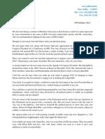 Letter to Arvind