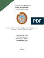 """""""Implementación y mejoramiento de la producción de leche y queso en la comunidad de Camacani del distrito de Plateria"""""""
