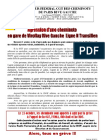 Tract Agression d'Une Cheminote