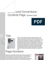 Codes and Conventions-Contents Page