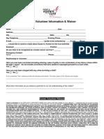 Race Volunteer Information Waiver