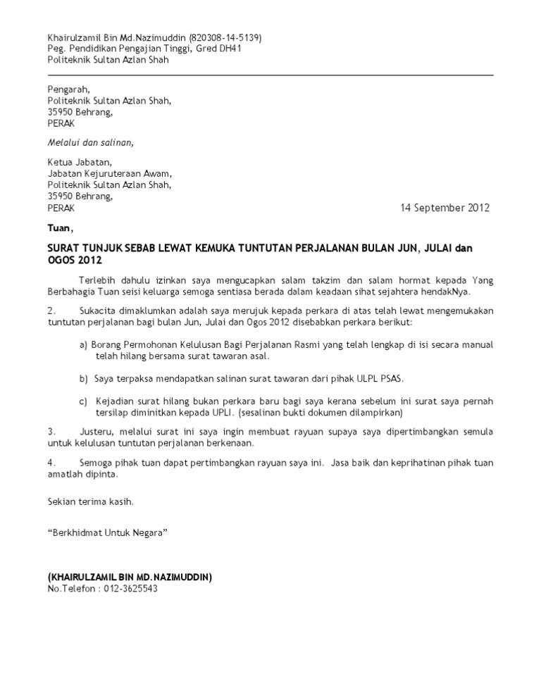 Surat Tunjuk Sebab Lewat Hantar Tuntutan Perjalanan SIP