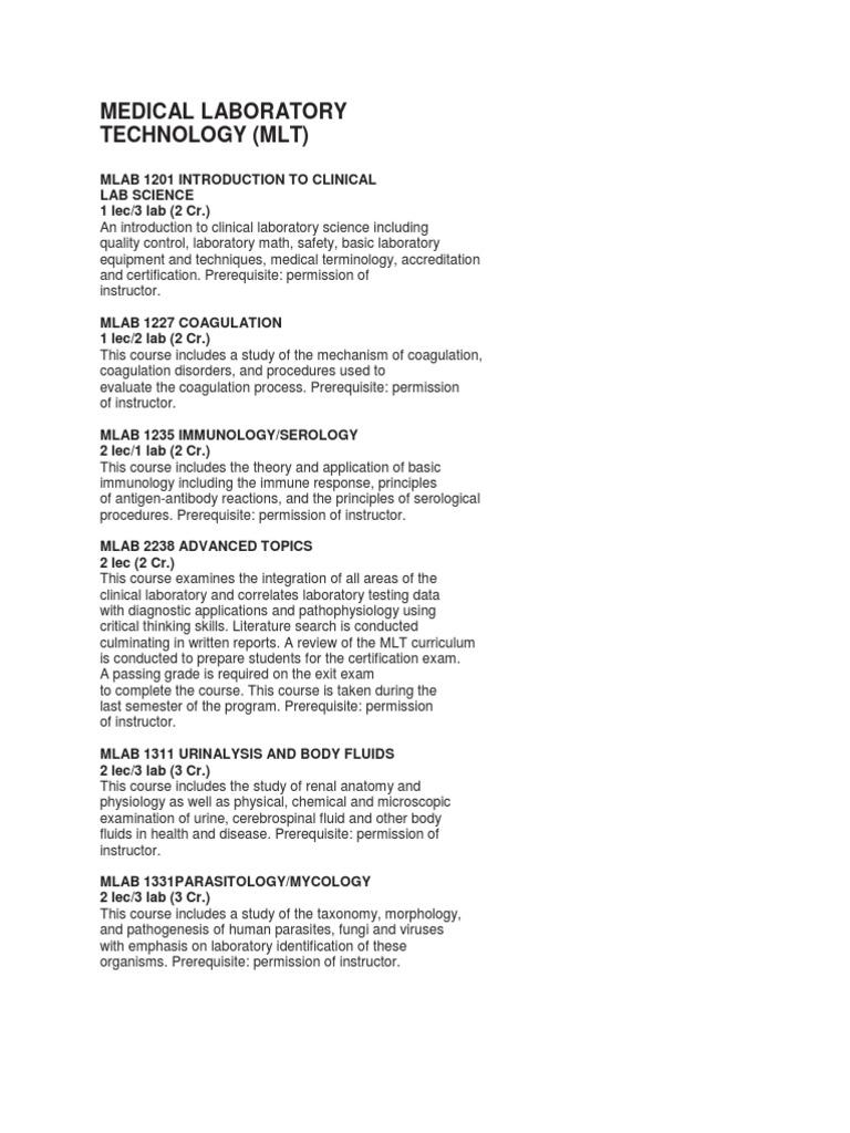 Navarro College Medical Laboratory Course Description   Medical ...