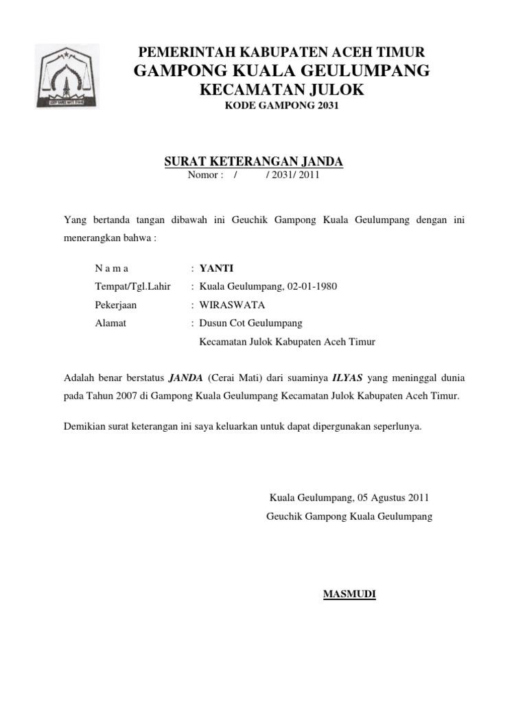 Surat Keterangan Janda Docx