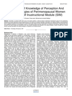 Evaluation of Knowledge of Perception and Coping Strategies of Perimenopausal Women Through Self Inustructional Module (SIM)