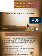 Production and Operations Management project on Productivity
