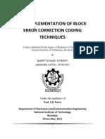 VLSI Implementation of Block Error Correction Coding Techniques