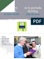 blogaren azalean (2012ko uztaila) · en la portada del blog (julio de 2012)