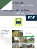 blogaren azalean (2012ko iraila) · en la portada del blog (septiembre de 2012)