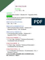 Fórmulas de Cálculos de exel para levantamientos topograficos