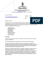 FOI Extradition Costs to UK Home Office