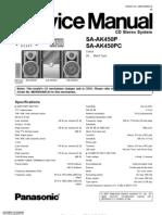 9441 Panasonic SA-AK450P 450PC Sistema de Sonido Con CD Casette Manual de Servicio