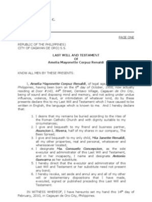 Sample Of Notarial Will Will And Testament Document