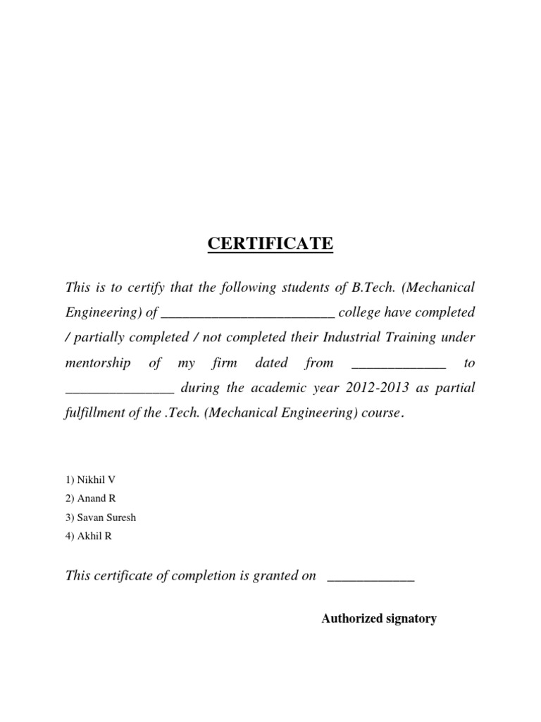 engineering industrial training certificate