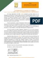 2012-10-22 COFAV solicita información a la Generalitat sobre el certificado para permisos médicos y asistenciales
