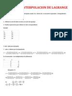 Metodo de Interpolacion de Lagrange Ejercicio