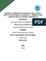 Informe de laboratorio de Química Organica II