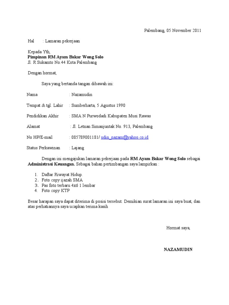 Surat Lamaran Kerja Nazam Ke Rm Ayam Bakar Wong Solo