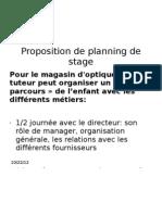 Proposition de planning de stage 3ème