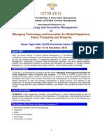 Brochure for ICTIM-2012