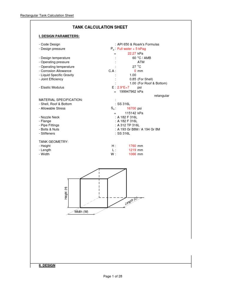 Rectangular tank calculation bending pressure nvjuhfo Choice Image