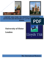 A REPORT ANALYSING THE PROSPECTIVE STRATEGIC ACTIVITIES AND DECISIONS OF LLOYDS TSB ENTERING RUSSIA