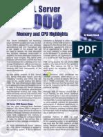 Memory and CPU Highlights - SQL SERVER 2008