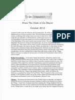 October 2012 Fleischmanns Mayor's Newsletter