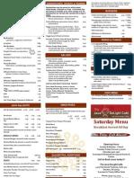 The Java DeLight Cafe Saturday Menu