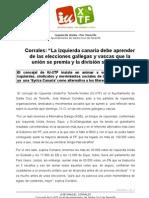 """""""La izquierda canaria debe aprender de las elecciones gallegas y vascas que la unión se premia y la división se castiga"""""""