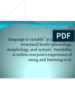 Language, Dialect, And Variety