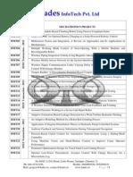Mechanical IEEE 2012 Project List from Hades InfoTech