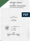 Bibliographic Survey of Indian Manuscript Catalogues - Subhas C Biswas