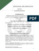 Ley 262 Régimen de Congelamiento de Fondos y Otros Activos de Personas Vinculadas con Acciones de Terrorismo y Financiamiento del Terrorismo