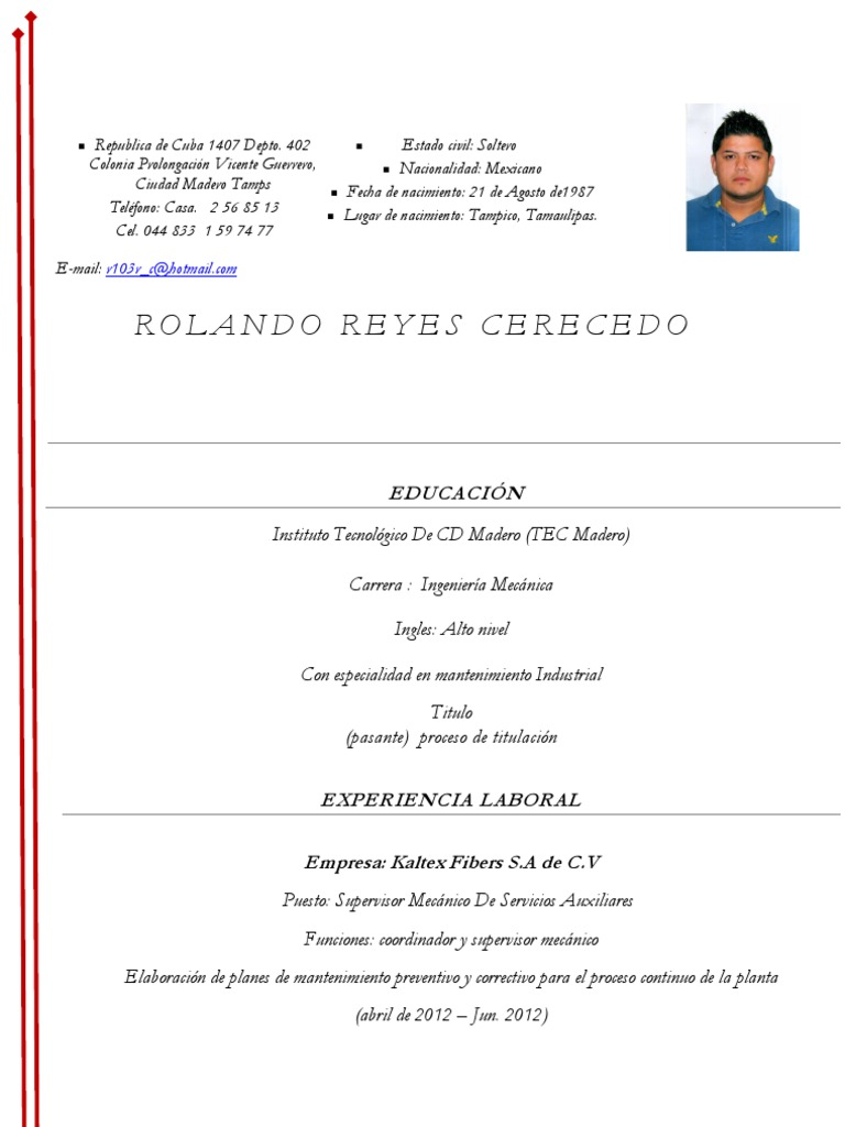 Moderno Currículum De Ingeniería De Muestra Foto - Ejemplo De ...