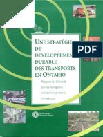 Une stratégie de développement durable des transports en Ontario
